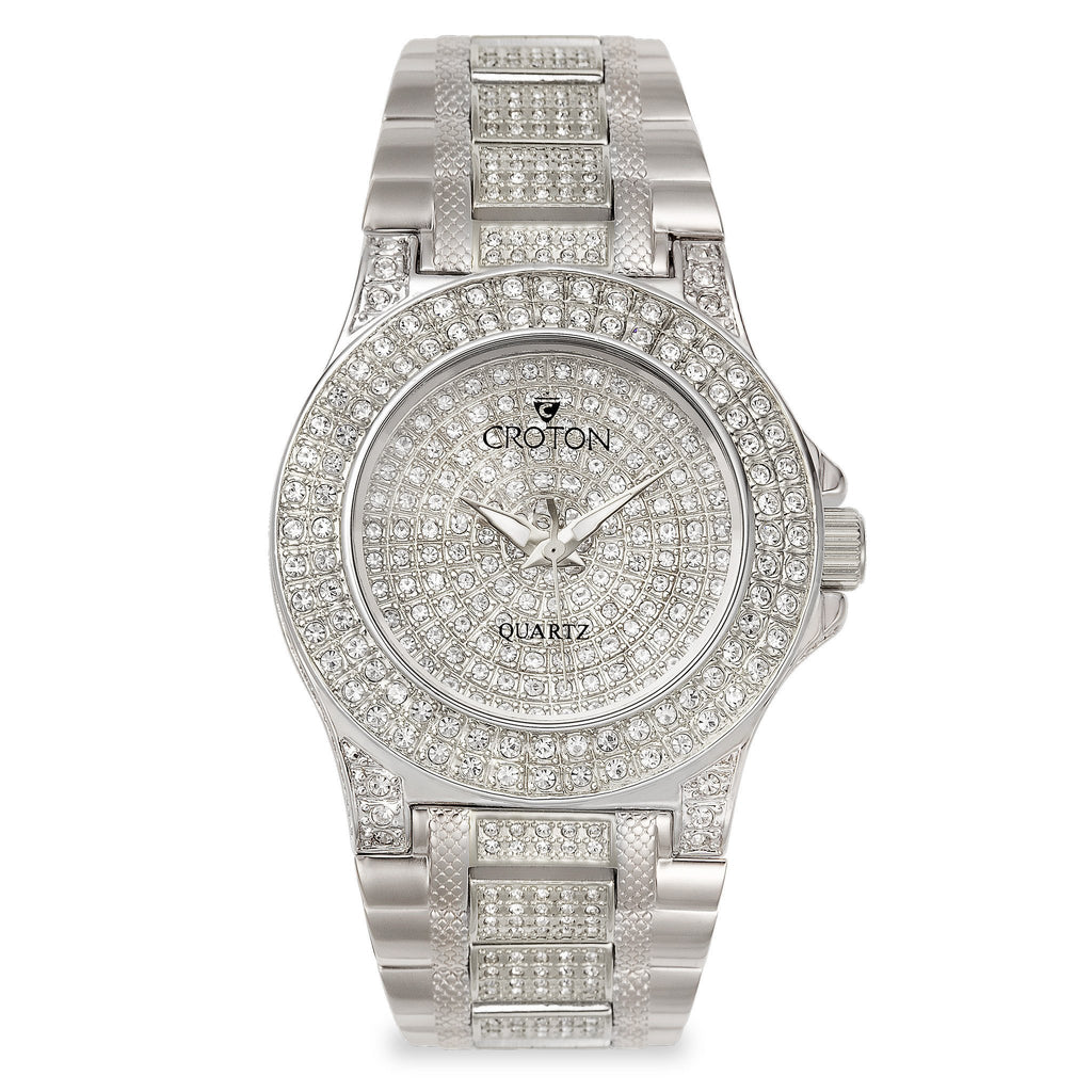 "Croton Men's ""Balliamo"" Watch with Full Austrian Crystal Dial & Case & Beveled Crystal"