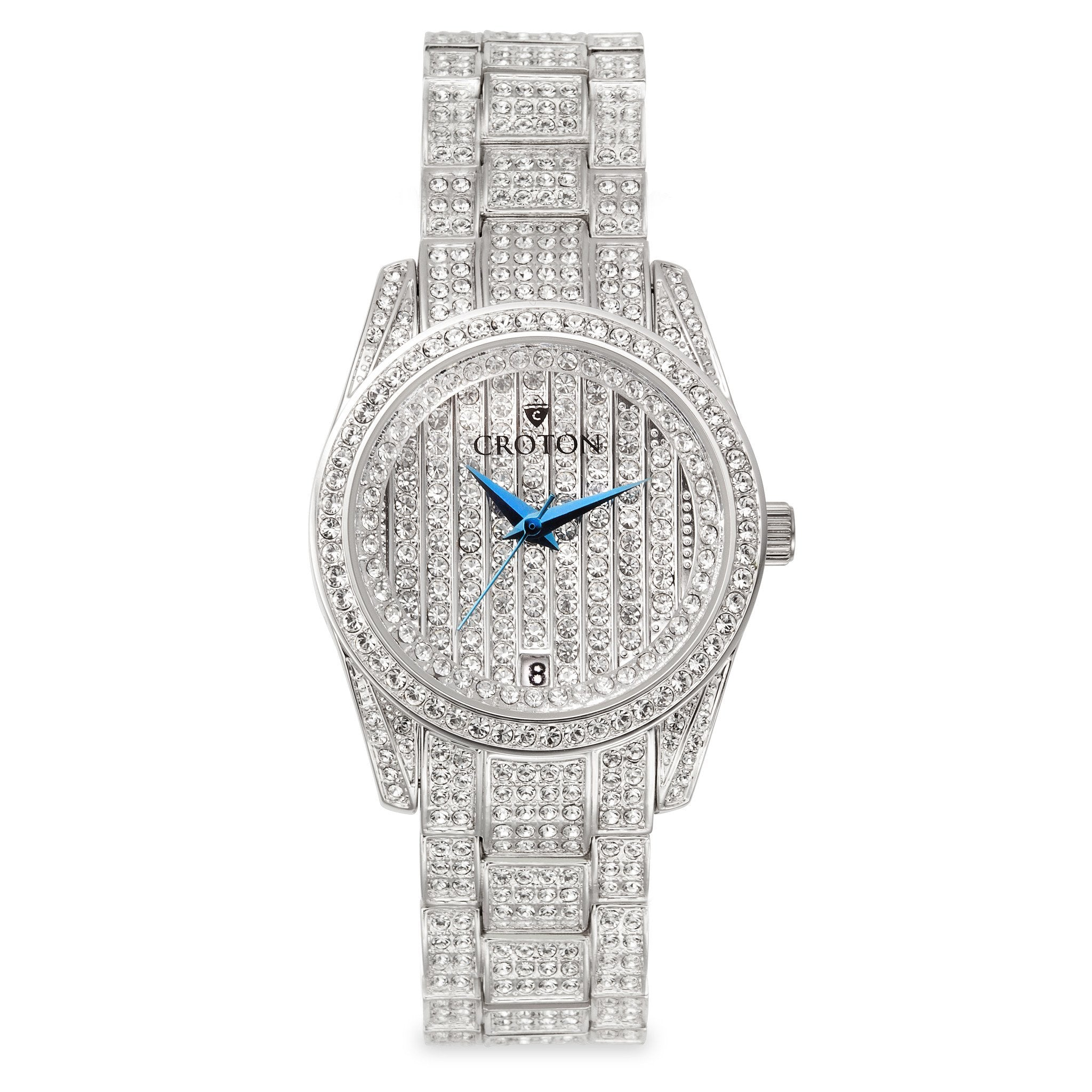 Croton balliamo silvertone swarovski crystal watch with date croton group for Crystal watches
