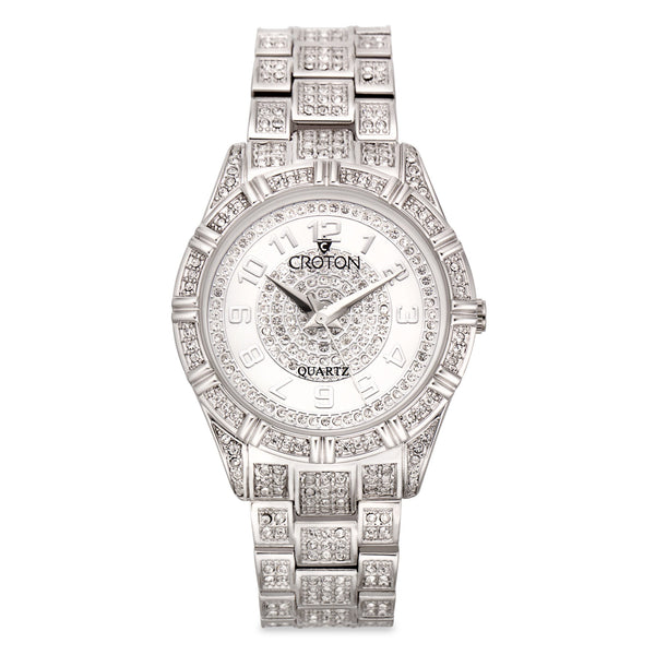"Croton Men's ""Balliamo"" Austrian Crystal Quartz Watch with Faceted Crystal"