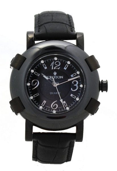 Men's IP Black Stainless Steel Watch with Ceramic Bezel