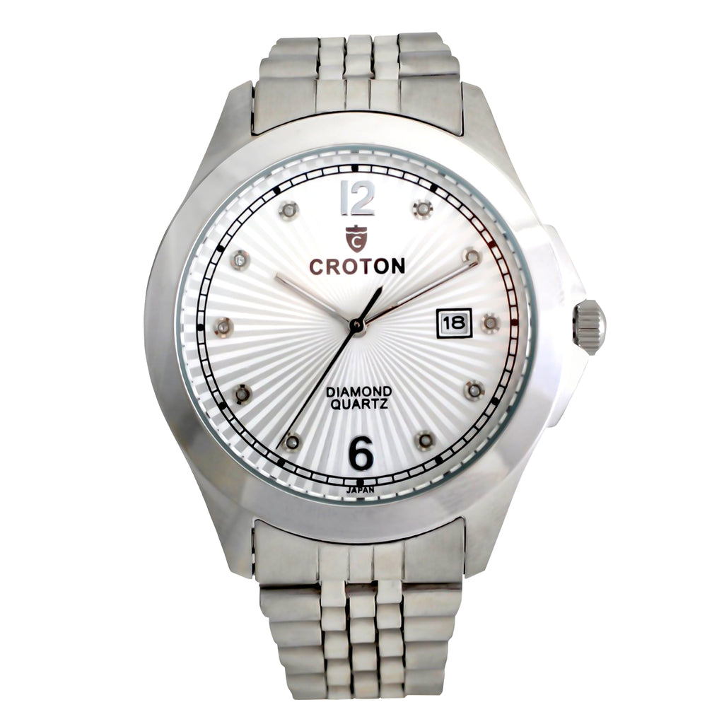 Men's Silvertone Quartz Silver Dial Watch with 10 Diamond Markers