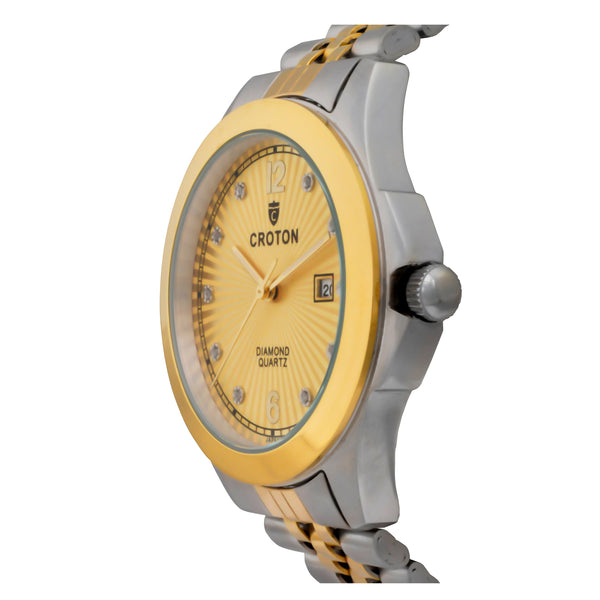 Men's Goldtone Quartz Champagne Dial Watch with 10 Diamond Markers