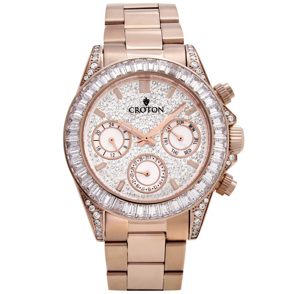 Men's Rosetone Multi-function Watch with Clear CZ Baguettes on the Bezel - CROTON GROUP
