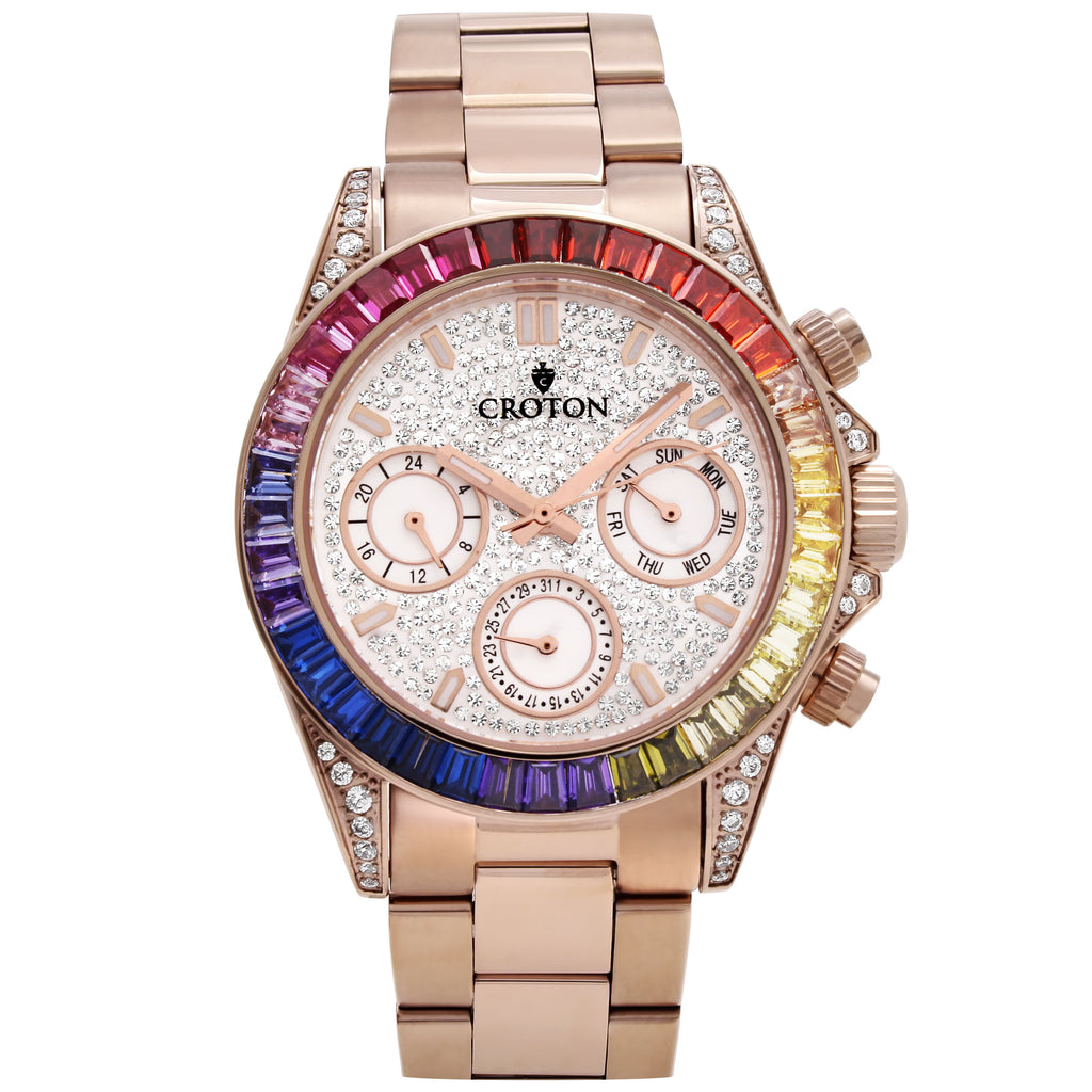 Men's Rosetone Multi-function Watch with Multi-colored CZ Baguettes on the Bezel