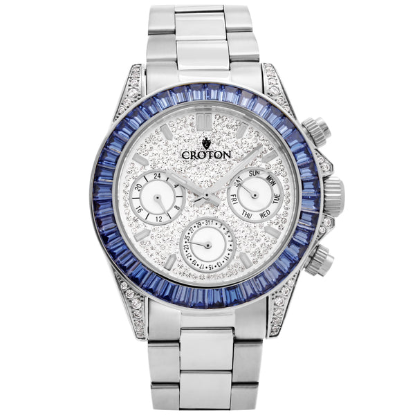 Men's Silvertone Multi-function Watch with Blue CZ Baguettes on the Bezel