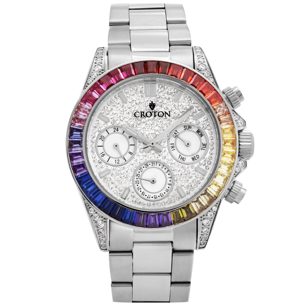 Men's Silvertone Multi-function Watch with Multi-colored CZ Baguettes on the Bezel - CROTON GROUP