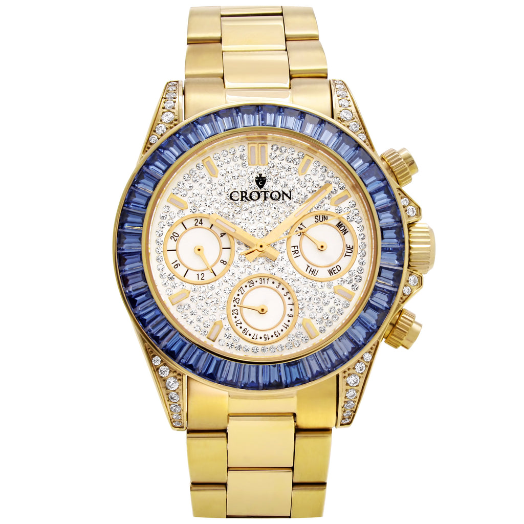 Men's Goldtone Multi-function Watch with Blue CZ Baguettes on the Bezel - CROTON GROUP