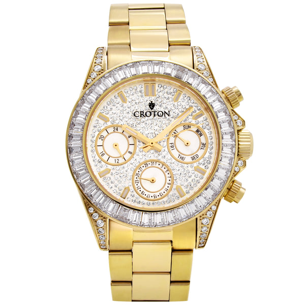Men's Goldtone Multi-function Watch with Clear  CZ Baguettes on the Bezel
