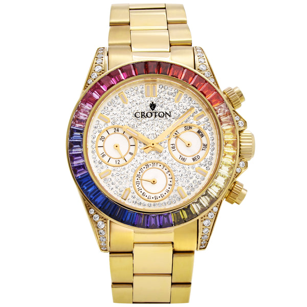 Men's Goldtone Multi-function Watch with Multi-colored CZ Baguettes on the Bezel