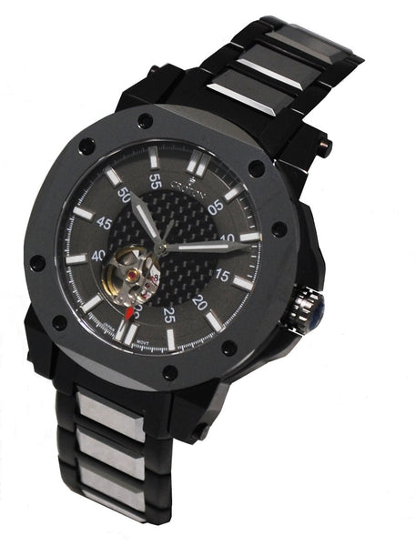 Men' s Black Stainless  & Tunsten Automatic with Carbon Fibre Dial & Heart Beat