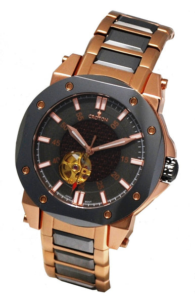 Men' s Brown Stainless  & Tunsten Automatic with Carbon Fibre Dial & Heart Beat