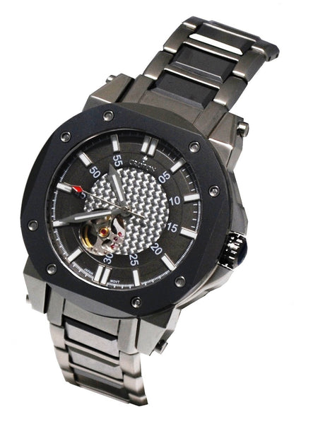 Men' s Silver Stainless  & Tunsten Automatic with Carbon Fibre Dial & Heart Beat