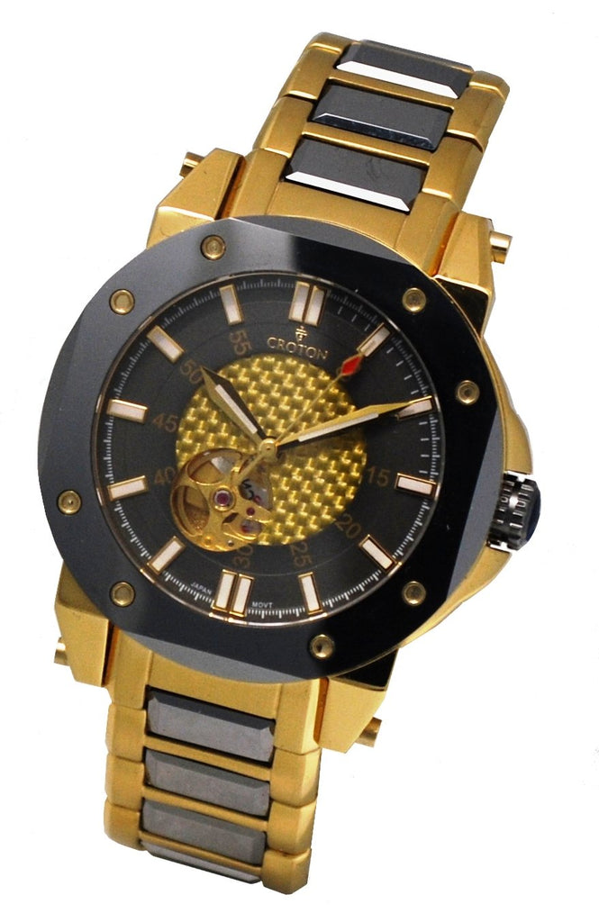 Men' s Goldtone Stainless & Tunsten Automatic with Carbon Fibre Dial & Heart Beat