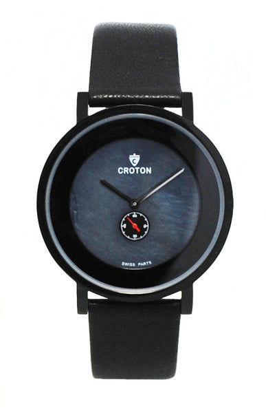 Men's Ultra Thin Black Swiss Parts Dress Watch with Black Mother of Pearl Dial