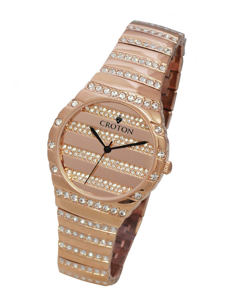 Men's Rosetone Quartz Watch with Crystals on the Dial, Bezel & Bracelet