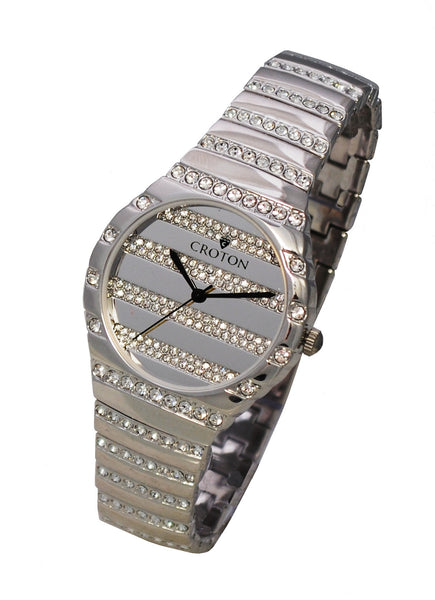 Men's Silvertone Quartz Watch with Crystals on the Dial, Bezel & Bracelet