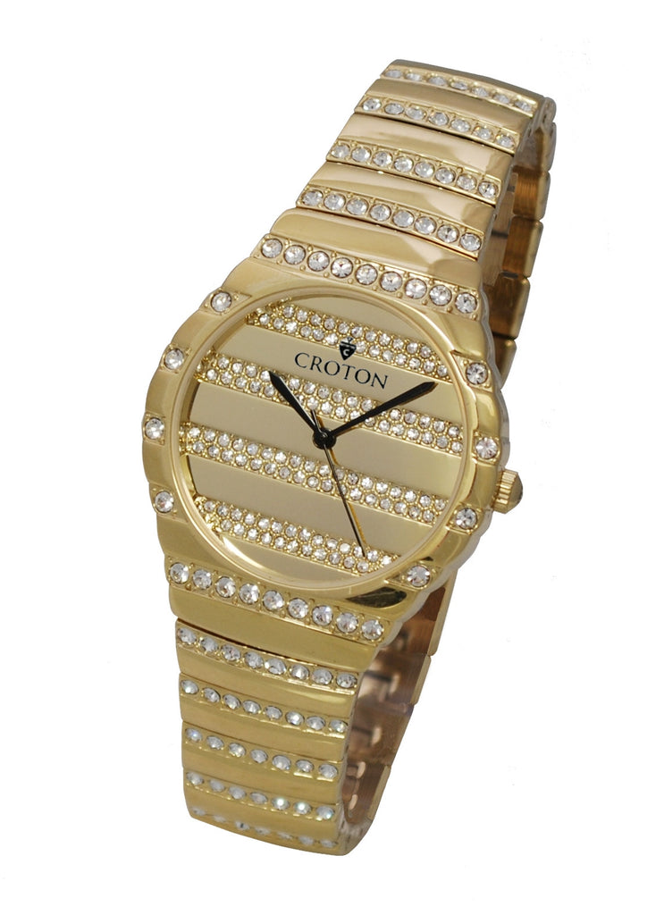 Men's Goldtone Quartz Watch with Crystals on the Dial, Bezel & Bracelet