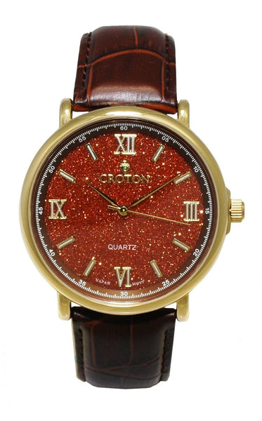 Men's Stainless Steel Quartz Watch with Rust Goldstone Glass Dial & Leather Strap
