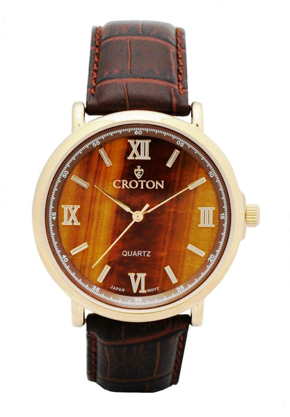 Men's Stainless Steel Quartz Watch with a Genuine Tiger Eye Dial & Leather Strap