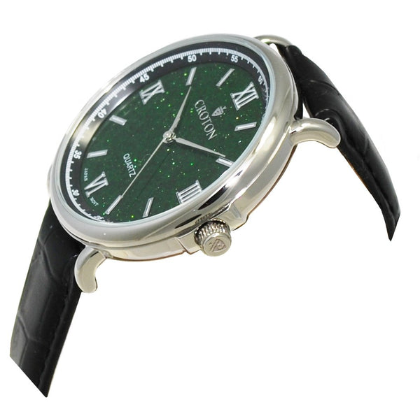 Men's Stainless Steel Quartz Watch with Green Goldstone Glass Dial & Leather Strap