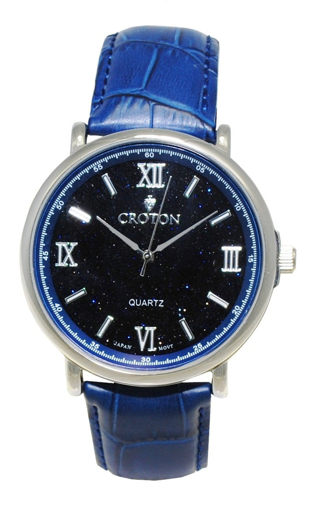 Men's Stainless Steel Quartz Watch with Blue Goldstone Glass Dial & Leather Strap - CROTON GROUP