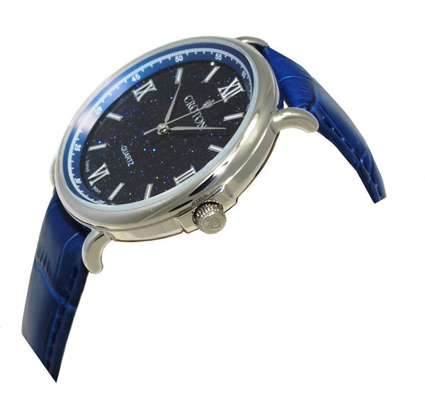 Men's Stainless Steel Quartz Watch with Blue Goldstone Glass Dial & Leather Strap