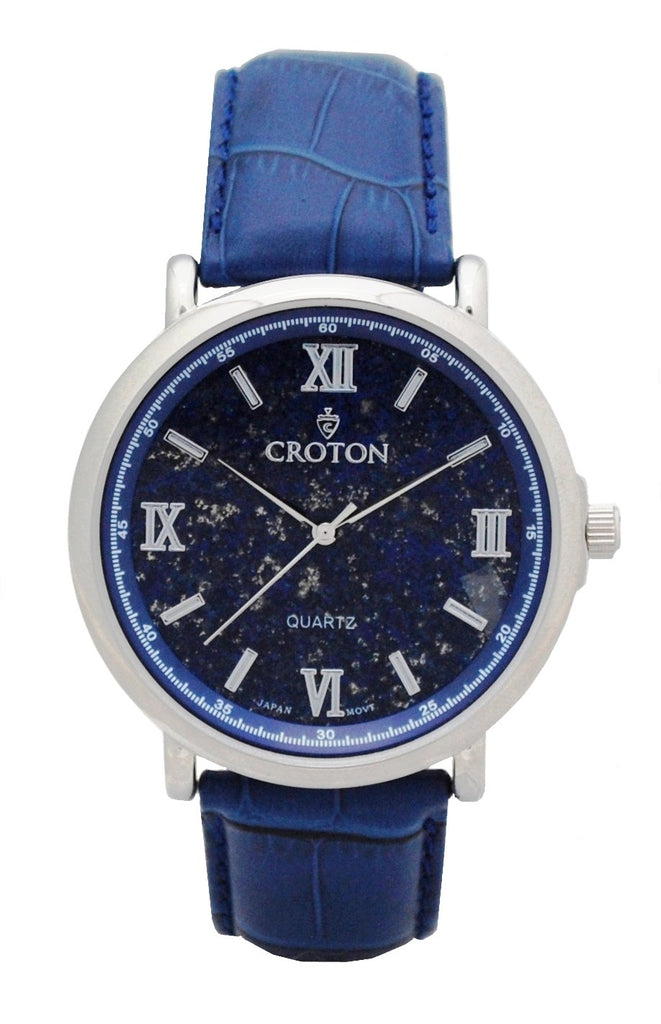 Men's Stainless Steel Quartz Watch with Lapis Lazuli Dial & Leather Strap - CROTON GROUP