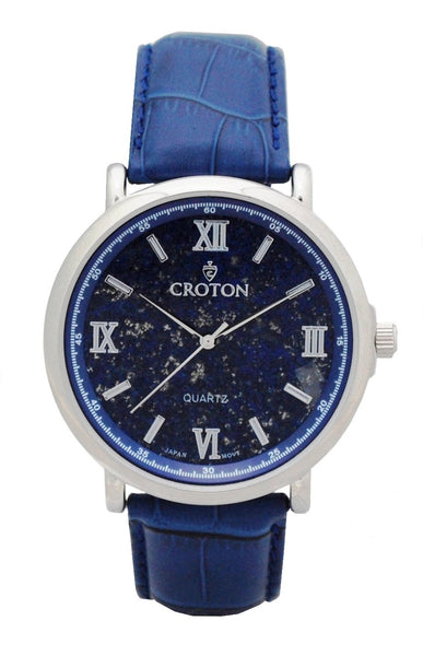 Men's Stainless Steel Quartz Watch with Lapis Lazuli Dial & Leather Strap