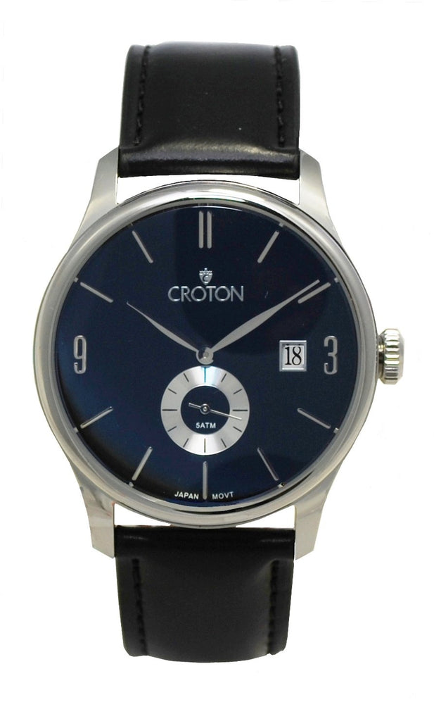 Men's Silvertone All Stainless Japan Quartz Strap Watch with Date & Seconds Sub Dial - CROTON GROUP