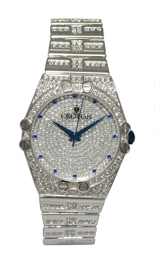 Mens Quartz Austrian Crystal Watch with Blue Crystal Markers & Blue Metallic Hands - CROTON GROUP