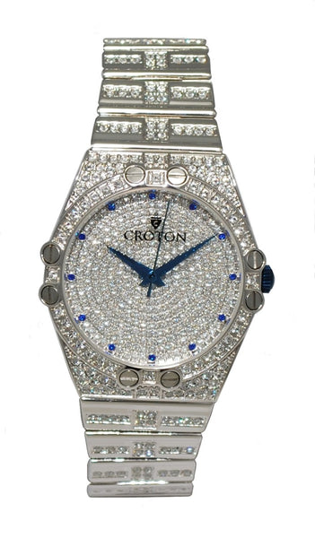 Mens Quartz Austrian Crystal Watch with Blue Crystal Markers & Blue Metallic Hands