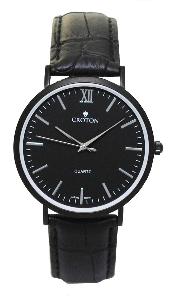Men's Stainless Steel IP Black Quartz Watch with Matching Strap