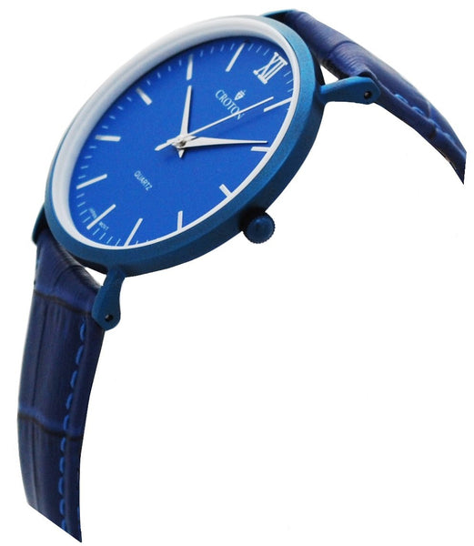 Men's Stainless Steel IP Blue Quartz Watch with Matching Strap