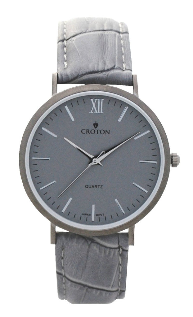 Men's Stainless Steel IP Grey Quartz Watch with Matching Strap