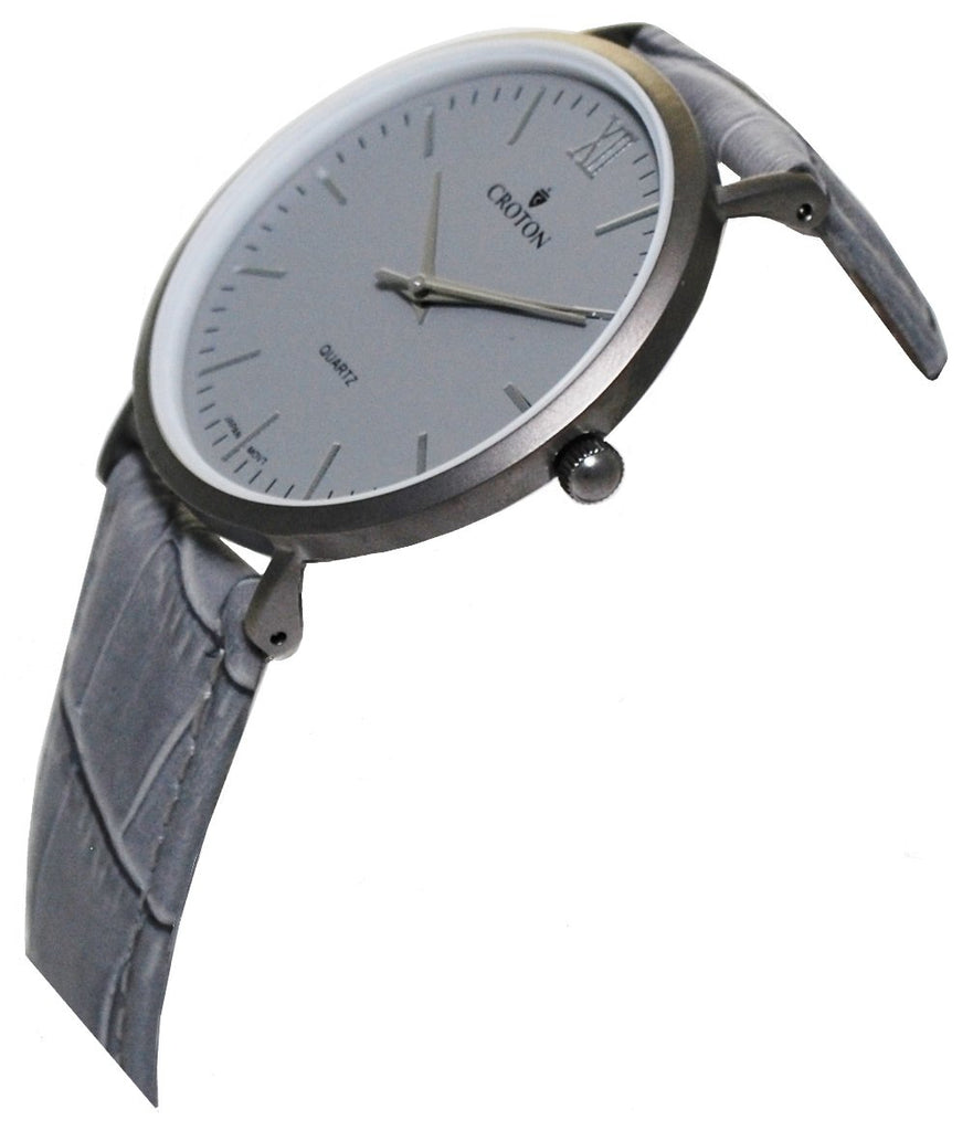 Unisex Stainless Steel IP Grey Quartz Watch with Matching Strap