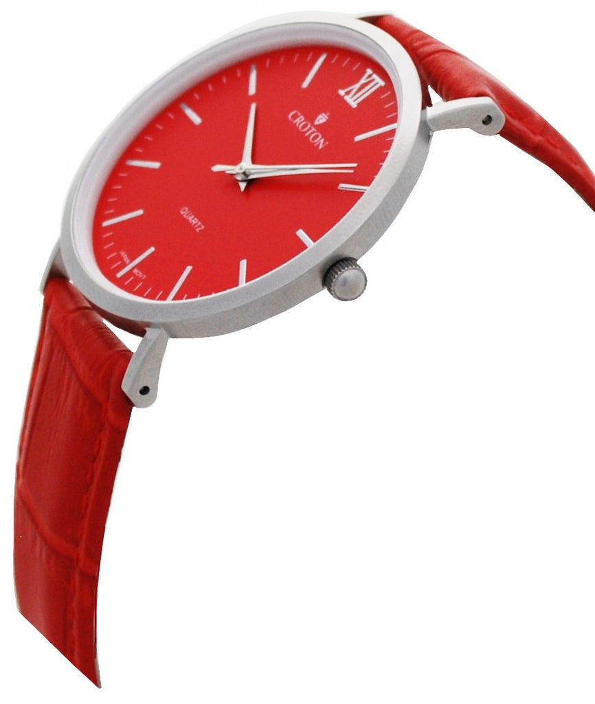 Men's Stainless Steel IP Red Quartz Watch with Matching Strap