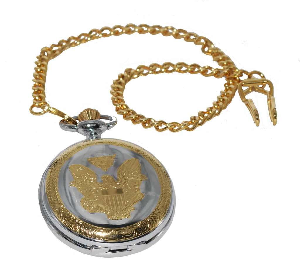 Men's Two Tone Genuine US Lady Liberty Coin Replica Pocket Watch with Chain