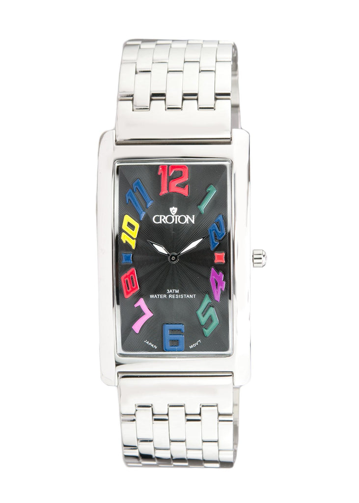 "Men's Japan Quartz All Stainless Steel Rectangular ""Aristocrat"" with Black Dial - CROTON GROUP"