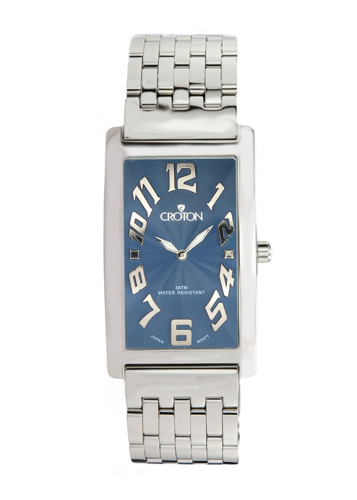 "Men's Japan Quartz All Stainless Steel Rectangular ""Aristocrat"" with Blue Dial"