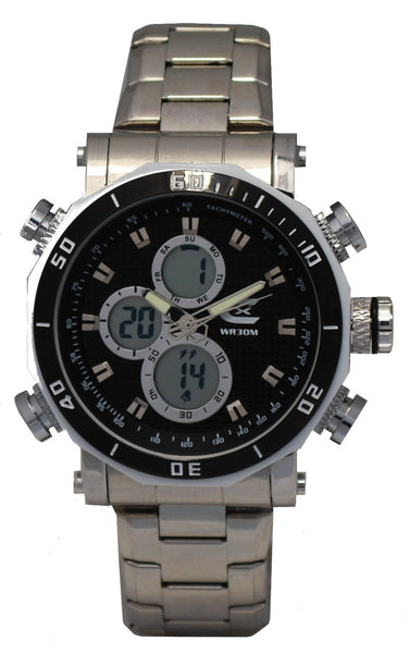 Men's Ana-Digi Chronograph Watch with Stainless Bracelet & Black Carbon Fiber Dial