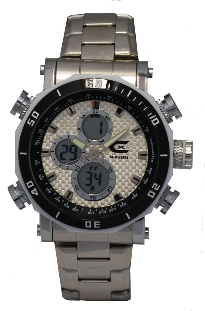Men's Ana-Digi Chronograph Watch w/Stainless Bracelet & Pineapple Carbon Fiber Dial