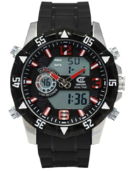 Men's Ana-Digi Chronograph Watch with Black Silicone Strap