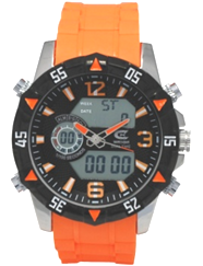 Men's Ana-Digi Chronograph Watch with Orange Silicone Strap