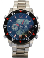 Men's Ana-Digi Chronograph Watch with Red & Black Bezel