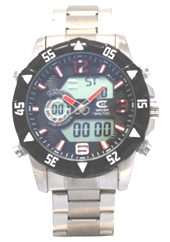 Men's Ana-Digi Chronograph Watch with White & Black Bezel