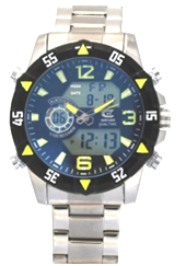Men's Ana-Digi Chronograph Watch with Yellow & Black Bezel