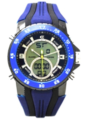Men's Ana-Digi Chronograph Watch with Blue & White Bezel and Black & Blue Silicon Strap