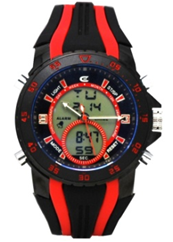 Men's Ana-Digi Chronograph Watch with Black & Red Bezel and Black & Red Silicon Strap