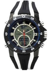Men's Ana-Digi Chronograph Watch with Black & White Bezel and Black & White Silicon Strap