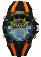 Men's Ana-Digi Chronograph Watch with Black & Yellow Bezel and Black & Orange Silicon Strap